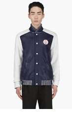 ADIDAS ORIGINALS BY O.C. Navy Leather Colorblock Varsity Jacket for men