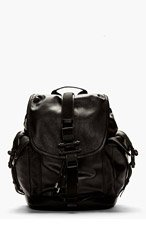 GIVENCHY Black Leather Obsidia Buckle Backpack for men
