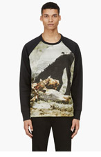 A.SAUVAGE Black & olive NEOPRENE Carrion Collage Sweatshirt for men