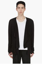 RAD BY RAD HOURANI Black Draped Jersey Unisex Cardigan for men