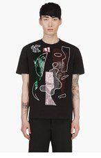 RAF SIMONS Black HAND EMBROIDERED Cubist MASK t-shirt for men