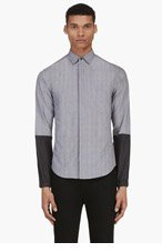 PUBLIC SCHOOL Grey Contrast Sleeve Check Shirt for men
