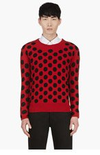 BURBERRY PRORSUM Red & Black Intarsia Polka Dot Sweater. for men
