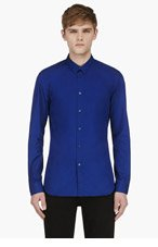 CALVIN KLEIN COLLECTION Royal Blue Slim Fit Button Down Shirt for men