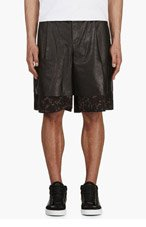 YANG LI Black leather & Tapestry layered shorts for men