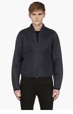 CALVIN KLEIN COLLECTION SSENSE EXCLUSIVE Slate Blue Layered Mesh Jacket for men