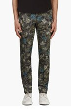 VALENTINO Grey Floral Camo Print Trousers for men