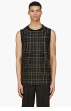 A.SAUVAGE Black Plaid Tank Top for men
