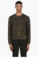 VALENTINO Green Floral Camo Print Sweater for men