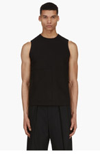 J.W.ANDERSON Black Sleeveless Silk Blend Patch Pocket Blouse for men