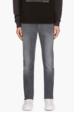 NUDIE JEANS Grey Faded Thin Finn Jeans for men