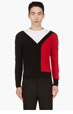 MONCLER GAMME BLEU Navy & Red Colorblock Textured Knit Sweater for men