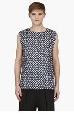 J.W.ANDERSON Navy & White Sleeveless Embroidered Top for men