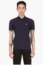 BURBERRY PRORSUM Navy Removal Flower Pin Polo Shirt for men