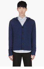BURBERRY PRORSUM Blue Cashmere Y-Front Hooded Sweater for men