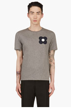 BURBERRY PRORSUM Heather Grey Floral Graphic T-Shirt for men