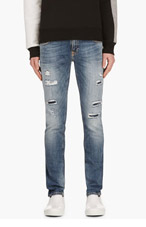 NUDIE JEANS Blue Organic Distressed TIGHT LONG JOHN Jeans for men