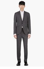 TIGER OF SWEDEN Grey Wool Windowpane Check Suit for men