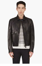 BURBERRY PRORSUM Navy Leather Jacket for men