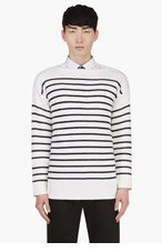 BURBERRY PRORSUM Ivory Cashmere Silk Blend Mariner Sweater for men