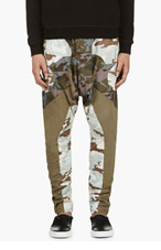 GIVENCHY Green & brown CAMO Sarouels for men