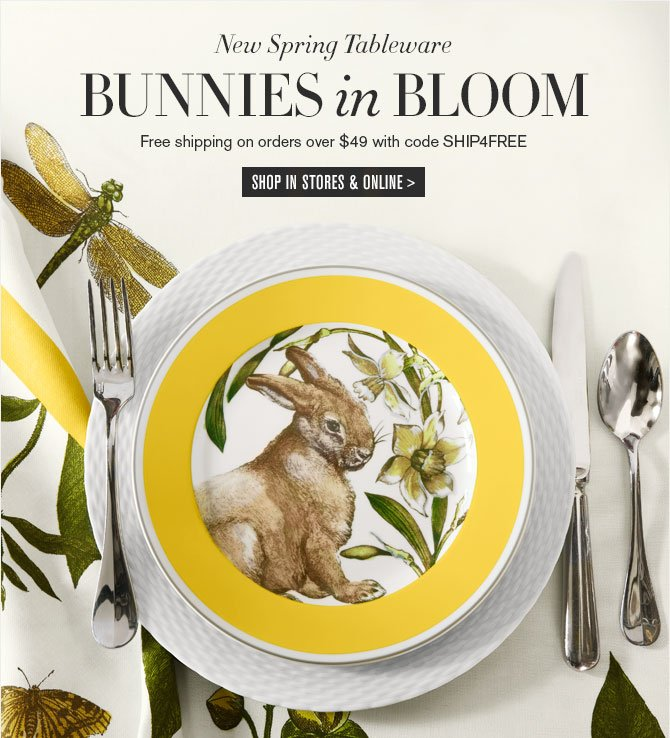 New Spring Tableware - BUNNIES in BLOOM - Free shipping on orders over $49 with code SHIP4FREE - SHOP IN STORES & ONLINE