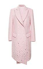 Pink Embellished Wool Coat