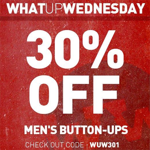 30% Off Men's Button-Ups