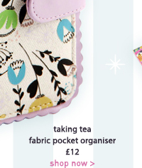 taking tea fabric pocket organiser