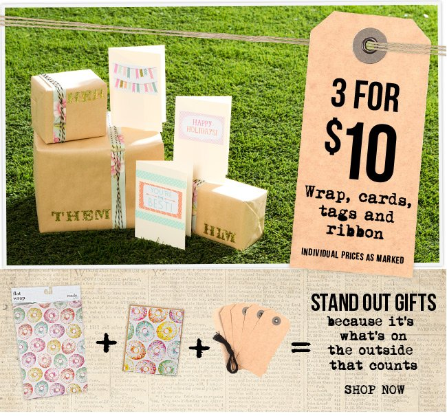 3 for $10 on wrap, cards, tags and ribbons
