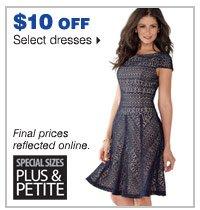 $10 off select dresses.