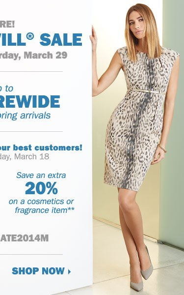 It's here! The Goodwill® Sale. Save up to 40% storewide on new spring arrivals! Exclusive coupons for our best customers: save an extra 25% on a regular or sale price apparel or accessory item** OR save an extra 20% on a cosmetics or fragrance item** Shop now.