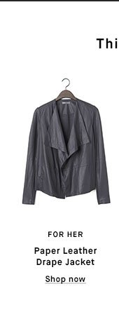 FOR HER - Paper Leather Drape Jacket - Shop now