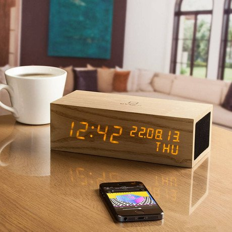 Music Click Clock Oak // Orange LED