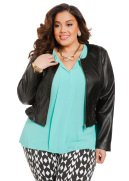 Smocked Faux Leather Crop Jacket