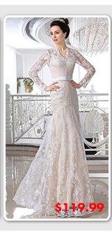$119.99 white-sheath-v-neck-sash-floor-length-lace-bridal-wedding-gown