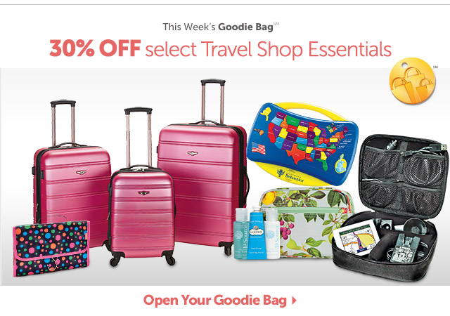 This Week's Goodie Bag - 30% OFF select Travel Shop Essentials - Open Your Goodie Bag
