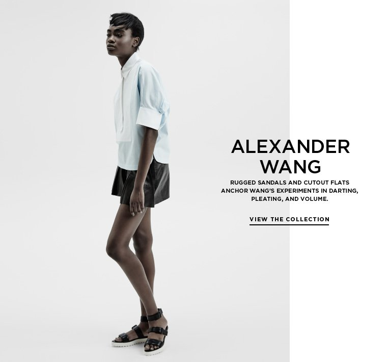 Urban couture from Alexander Wang Rugged sandals and cutout flats anchor Wang's experiments in darting, pleating, and volume.