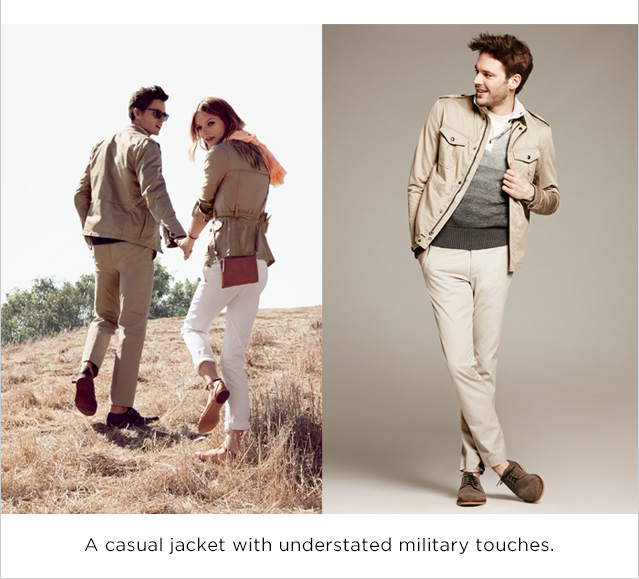 A casual jacket with understated military touches