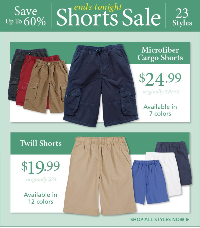 Shorts Sale Ends Tonight
