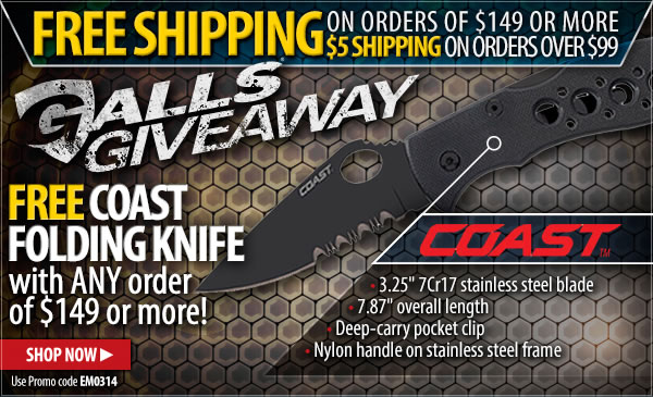 Free Coast Folding Knife with ANY Order of 149 dollars or More!