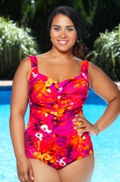 Plus Size Swimwear - Maxine Amalfi Shirred Front Girl Leg 1 Pc Polyester Swimsuit