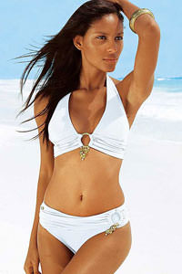 Jette White Twin-Ring Triangle Bikini £45