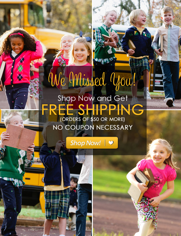 We Missed You! Enjoy Free Shipping on Your Entire Purchase! No Coupon Code Necessary Hurry, Shop Now and SAVE!