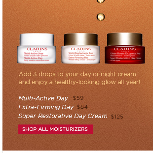 Add 3 dropd to your day or night cream and enjoy a healthy-looking glow all year! Shop All Moisturizers >