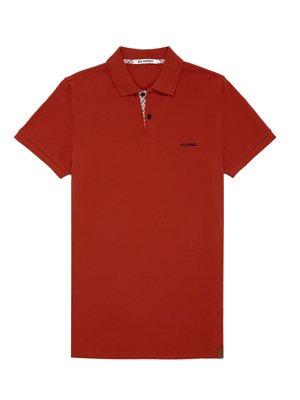 Red Woven Trim Pique Polo