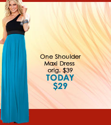 TODAY ONLY! Save $10 off One-Shoulder Maxi Dress