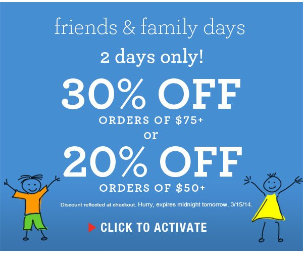 2 days only: Take an extra 30% off $75+ or 20% off $50+ orders