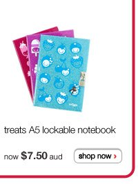 treats A5 lockable notebook - available in more colours - now $7.50 aud - shop now >