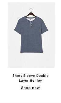 Short Sleeve Double Layer Henley - Shop now